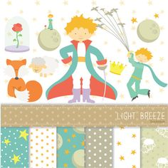 The Little Prince Clipart, Vector & Digital Scrapbooking Papers Set - Instant Download - Personal and Commercial Use