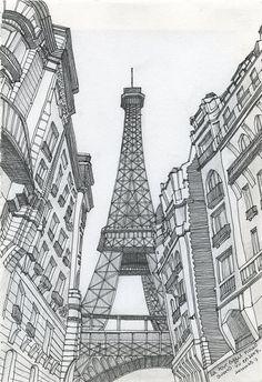 Paris Eiffel Tower Sketch by sketchmodern on Etsy