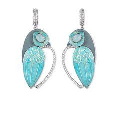 @ilgiz_f via IG Owls earrings. Gold, enamel, diamonds. By Ilgiz Fazulzyanov #enamel #jeweleryart #earrings