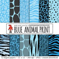 50% OFF Animal print digital paper: Blue by SandraGraphicDesign