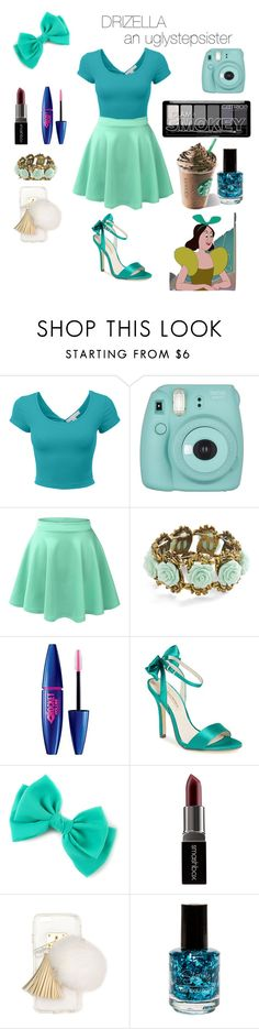 """Drizella"" by crystalgems125 ❤ liked on Polyvore featuring Fujifilm, LE3NO, Maybelline, Menbur, Smashbox, Ashlyn'd, disney, cinderella, disneybound and greenwithenvy"