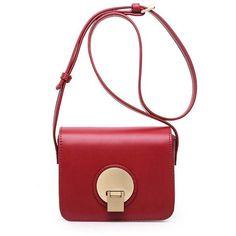 Wine Red Metal PU Leather Square Shape Crossbody Bag (€17) ❤ liked on Polyvore featuring bags, handbags, shoulder bags, red cross body handbags, crossbody shoulder bag, white purse, red handbags and white crossbody handbag