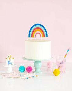 Bright Rainbow Cake Topper Rainbow Unicorn Party, Rainbow Birthday Party, Unicorn Birthday, Rainbow Parties, Baby Birthday, Birthday Ideas, Birthday Parties, Birthday Cake, Unicorn Banner