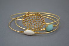 Gold Bangle Gold Bracelet Wire Bangle Flower by simplychic93, $34.00