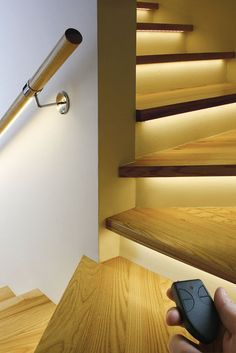 The only steps we'll have in the house we build will be to the bonus room, but talk about an amazing route up there! under-step lights