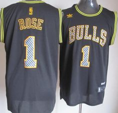 Chicago Bulls 1 Derrick Rose Black Electricity Fashion Revolution 30 Swingman NBA Jerseys
