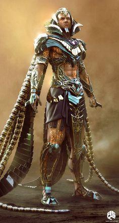 Gods of Egypt Concept Art by Jared Krichevsky - awesome, impactful, imposing :O Fantasy Character Design, Character Concept, Character Inspiration, Character Art, Egypt Concept Art, Concept Art World, Egyptian Mythology, Ancient Egyptian Art, Sci Fi Armor