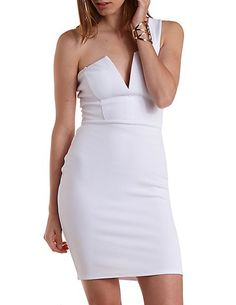 One Shoulder Plunging Bodycon Dress: Charlotte Russe #dress #bodycon