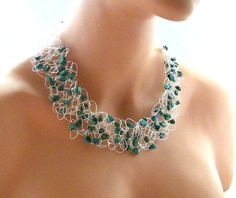 Turquoise Necklace Hand Crochet Necklace by BuddingCreations1