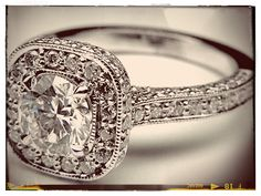 Double Diamond Halo Cathedral Vintage Engagement Ring