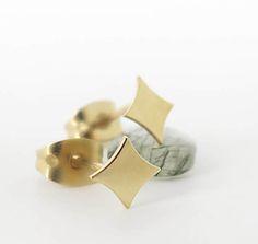 14K solid gold stud 14K gold earrings Small 14K gold by ZacdeGal