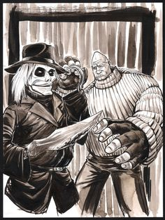 """Day 23 of 8 days til Halloween. Pinhead and Blade from the """"Puppet Master"""" series. Horror Icons, Horror Comics, Horror Films, 2007 Mustang, Millie The Model, Horror Drawing, Original Music, Halloween Horror, Background Patterns"""
