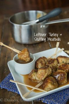 Leftover Turkey and Stuffing Meatballs {Dinners, Dishes, and Desserts}