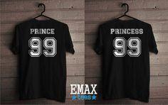Princess Shirt and  Prince Couple Tshirts Matching by EmaxTees