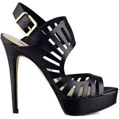 GUESS Kabirra Platform Heels ($105) ❤ liked on Polyvore featuring shoes, pumps, heels, black, black leather, high heel platform pumps, black pumps, platform pumps, leather pumps and heels & pumps