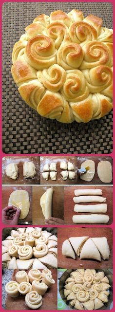 I replicated this with a few packages of crescent rolls, brushed lightly with an egg wash, and served it with herb butter. It was very easy to pull apart the individual pieces, and turned out really pretty. Would definitely make again.
