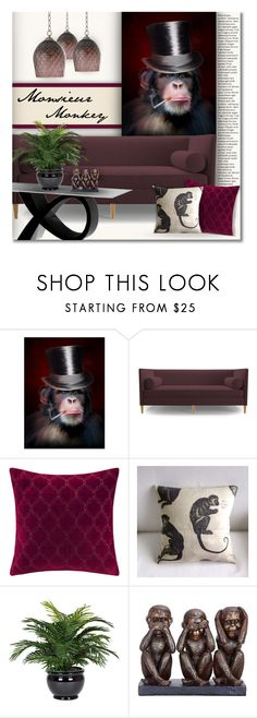 """Monsieur Monkey"" by debraelizabeth ❤ liked on Polyvore featuring interior, interiors, interior design, home, home decor, interior decorating, Joybird, Madison Park, Parlor and Universal Lighting and Decor"