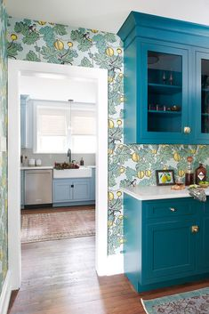 Our Villanova home finally got the butler's pantry it's always deserved – with patterned wallpaper and teal cabinets. Kitchen Cabinet Design, Kitchen Cabinetry, Kitchen Backsplash, Kitchen Decor, Kitchen Ideas, Soapstone Kitchen, Kitchen Updates, Pantry Design, Kitchen Taps