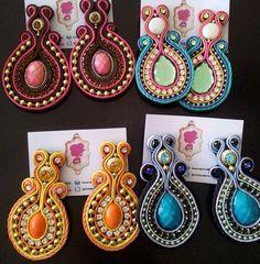 Earrings Diy Jewellery, Jewelry, Soutache Earrings, Big Necklaces, Bracelets, Beaded Earrings, Soutache Jewelry, Flamenco Dresses, Brides
