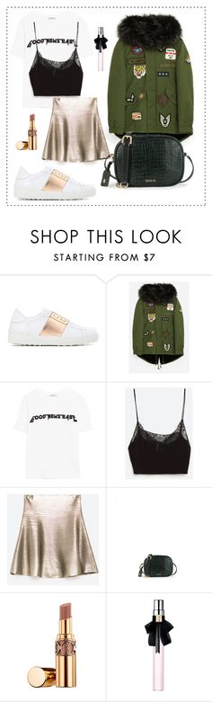 """Mini skirt + sneakers"" by pearls-and-peanuts ❤ liked on Polyvore featuring Valentino, Belgique and Yves Saint Laurent"