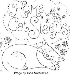 """Hoe Cat Sleeps"" embroidery cat pattern"
