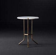"Ronan Marble Round Side Table, 17""diam x 22.25""h"