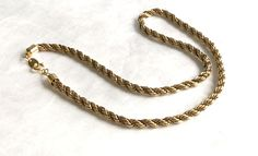 Elegant Vintage Costume Jewelry Rope Twist Gold Tone Alloy Necklace Short Chain  #Unbranded #Chain