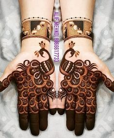 Check beautiful & easy mehndi designs 2020 ideas for mehandi ceremony. Save these latest bridal mehandi designs photos to try on your hands in this wedding season. Dulhan Mehndi Designs, Mehandi Designs, Mehendi, Peacock Mehndi Designs, Henna Art Designs, Mehndi Designs For Girls, Mehndi Designs 2018, Mehndi Designs For Beginners, Stylish Mehndi Designs