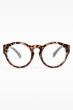 'Loretto' Oversized Rounded Wayfarer Clear Glasses - Light Tortoise - 5366-4