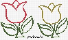 Pretty tulips and many more freebies Easy Cross Stitch Patterns, Pony Bead Patterns, Cross Stitch Borders, Cross Stitch Designs, Cross Stitching, Beading Patterns, Cross Stitch Embroidery, Cross Stitch Tree, Cross Stitch Heart