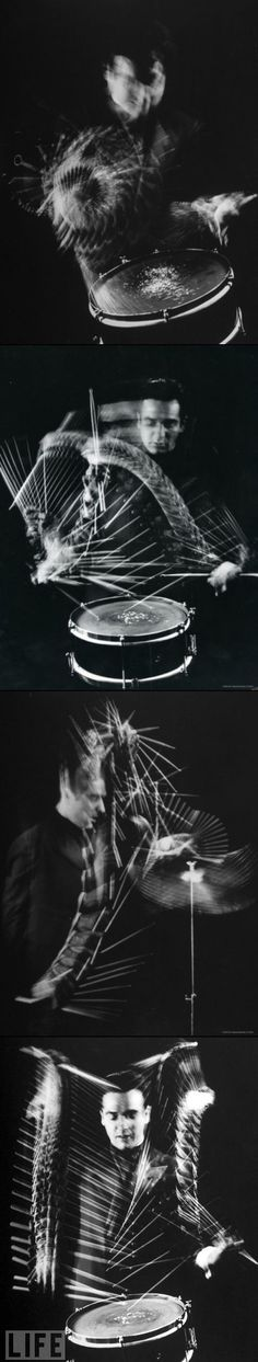 Drummer Gene Krupa by Gjon Mili I will find out how to do this! Long exposure taken through a black fan maybe? Movement Photography, Time Photography, Photography Projects, Exposure Photography, Photography Tutorials, Multiple Exposure, Long Exposure, Double Exposure, Exposure Time