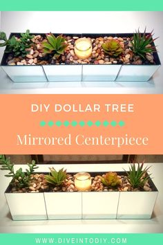 This DIY Dollar Tree mirrored centerpiece project can be made with items bought from the Dollar Tree. I love this mirrored box because it can be changed from season to season, or even decorated for th (Dollar Store Diy Projects)