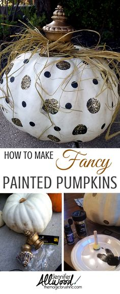 I'm seriously in love with this fancy painted pumpkin... And here's how I did it. More DIY projects and fall decorations at theMagicBrushinc.com