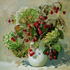 Maria Pavlova (b.1979) —   Hydrangea and Raspberries, 2012   (750x749)