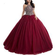 Burgundy Beaded Tulle Quinceanera Dresses Prom Pageant Dresses Wedding dress