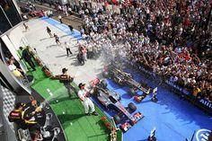 F1 Hungarian GP - Podium celebratrations.  Formula One World Championship, Rd11, Hungarian Grand Prix, Race Day, Budapest, Hungary, Sunday, 29 July 2012