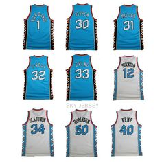 Free Shipping East West 1996 All Star Jersey Throwback Basketball Jersey Pippen Robinson O Neal Kemp Hill Retro Jersey