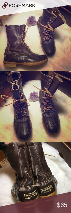 L. L bean boots These boots are life lasting! Genuine all weather leather! Waterproof. 9.5 inches from top to bottom. Men's 5, women's 7. L.L. Bean Shoes Winter & Rain Boots