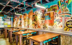 New York's Mexican Moment: 9 Restaurant Debuts that Will Make You Forget California and Texas: El Vez Burrito Mexican Restaurant Design, Mexican Bar, Taco Restaurant, Restaurant New York, Restaurant Interior Design, Outdoor Restaurant, Restaurant Concept, Restaurant Interiors, Restaurant Ideas