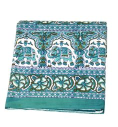 Indian Hand Block Printed Elephant Design Cotton Double Bed sheet size 90x108