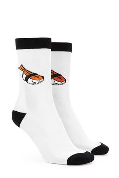 a4ea56a338d77 A pair of sheer mesh crew socks featuring a piece of shrimp sushi at the  ankle