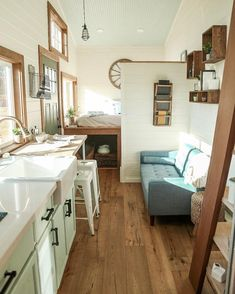 """Tiny Heirloom: """"Creating a small space that doesn't feel small is always a challenge. Here, we used an open style floor plan with strategically placed…"""""""