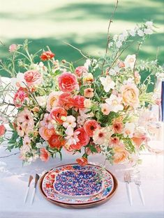 8 Wedding Reception Trends for 2020 That Your Guests Haven't Seen Before - We're talking food, drinks, and interactive experiences. Here are the 2020 wedding reception trends and ideas that will have guests remembering your big day as the best party of the year. bursts of bold color centerpiece flowers {Michel B. Events} Modern Wedding Centerpieces, Unique Centerpieces, Flower Centerpieces, Wedding Table, Rustic Wedding, Wedding Reception, Wedding Decorations, Table Decorations, Wedding Ideas