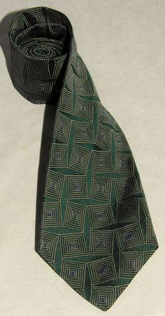 RALPH LAUREN - Dark Green - Square Design - 100% PURE Smooth SILK Men's Neck TIE #RalphLauren #NeckTie