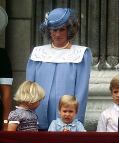 Princess Diana with Prince William on the balcony of Buckingham Palace at Trooping of the Colour 1984. Diana was pregnant with Prince Harry.