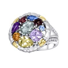 14k Gold Over Silver and Sterling Silver Gemstone Round Frame Ring, Women's, Size: 7, multicolor