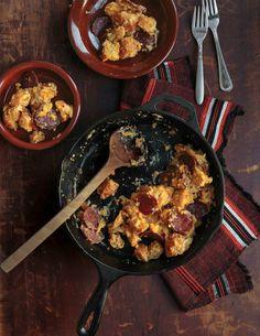 Migas con Chorizo (Scrambled Eggs with Bread and Chorizo)