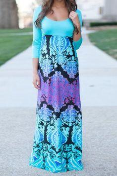 Stylish Scoop Neck 3/4 Sleeve Printed Women's Dress