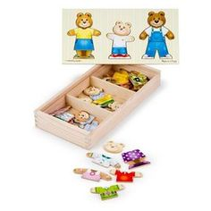 Melissa & Doug Mix 'n Match Wooden Bear Family Dress-Up Puzzle With Storage Case Photo Table, The Face, Melissa & Doug, Thing 1, Inspiration For Kids, Creative Activities, Gifts For Boys, Wooden Boxes, Early Childhood