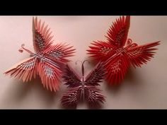 How to make Butterfly Origami Tutorial Origami 3d, Origami Videos, Origami Butterfly, Origami Flowers, Origami Paper, 3d Paper Crafts, Origami Tutorial, Free Pattern, Christmas Ornaments